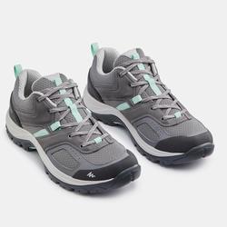 登山遠足鞋 - MH100 - 灰色/綠色 - 女裝