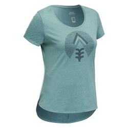 T-shirt de Caminhada na natureza - NH500 - Mulher Ocre