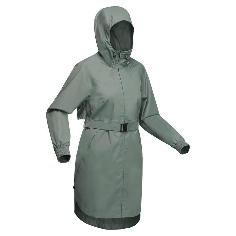 DÁMSKÉ NEPROMOKAVÉ BUNDY Turistika - Dlouhá bunda Raincut khaki QUECHUA - Turistické oblečení