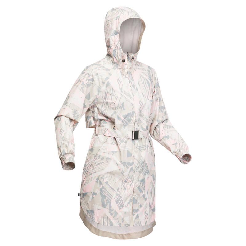 DÁMSKÉ NEPROMOKAVÉ BUNDY Turistika - Dlouhá bunda Raincut se vzorem QUECHUA - Turistické oblečení