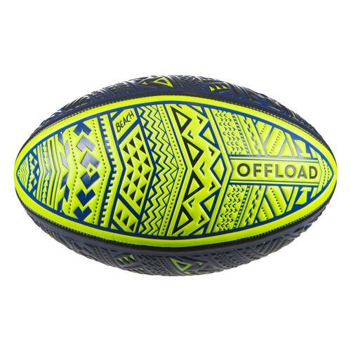 Ballon de beach rugby R100 taille 4 Maori bleu jaune
