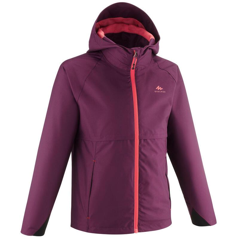 Veste imperméable de randonnée - MH500 prune - enfant 7-15 ans