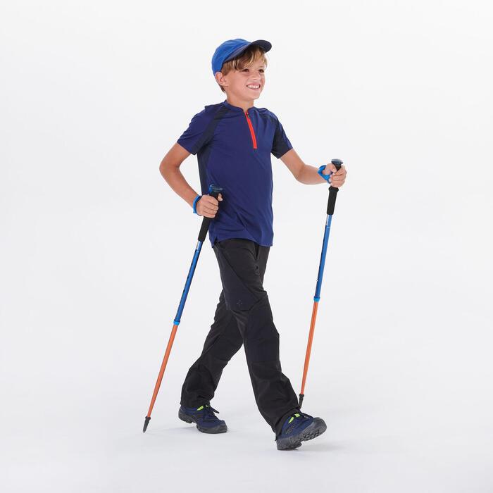 Wandershirt Bergwandern MH550 Kurzarm Kinder Jungen Gr.122–170 blau