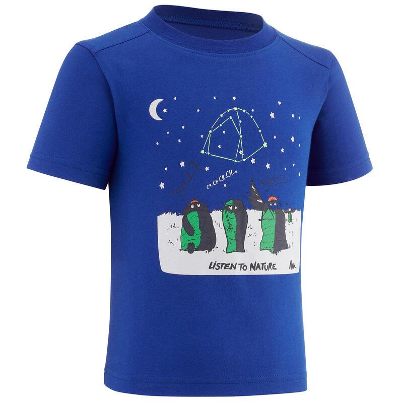 T-shirt de randonnée - MH100 bleu phosphorescent - enfant 2-6 ANS