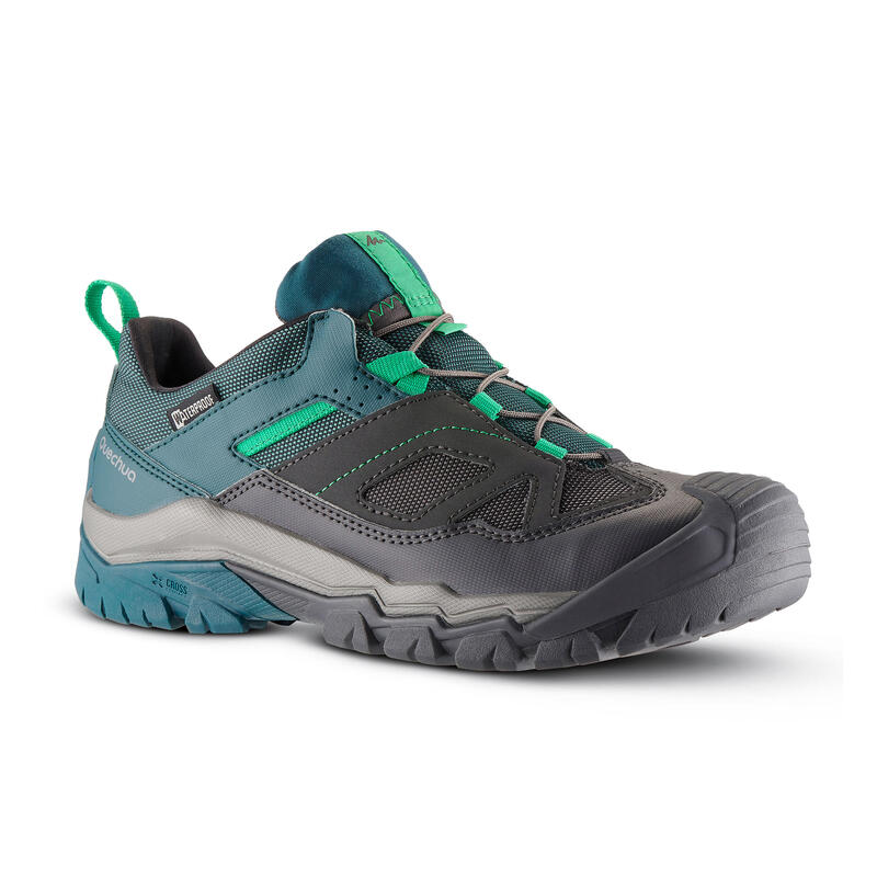 Waterdichte wandelschoenen met veters voor kinderen Crossrock maat 35-38 groen