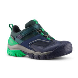 Chaussures de randonnée enfant avec scratch CROSSROCK imperméables vertes 28-34