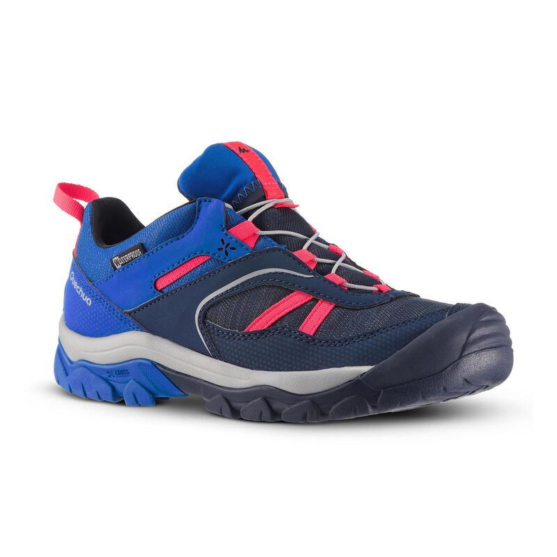 Chaussures de randonnée enfant avec lacet CROSSROCK imperméables bleu 35-38