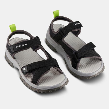Kids' Hiking Sandals MH120 TW  - Jr size 10 TO Adult size 6 - Black