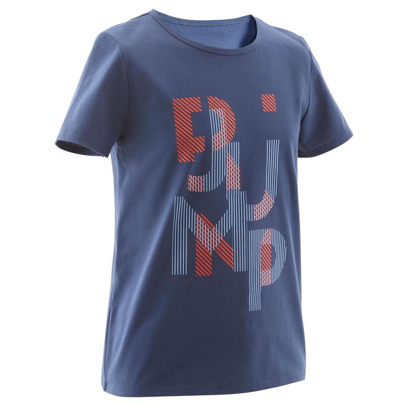 T-shirt enfant coton - Basique bleu jean avec imprimé