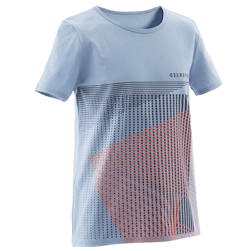 T-shirt enfant coton - Basique bleu clair avec imprimé