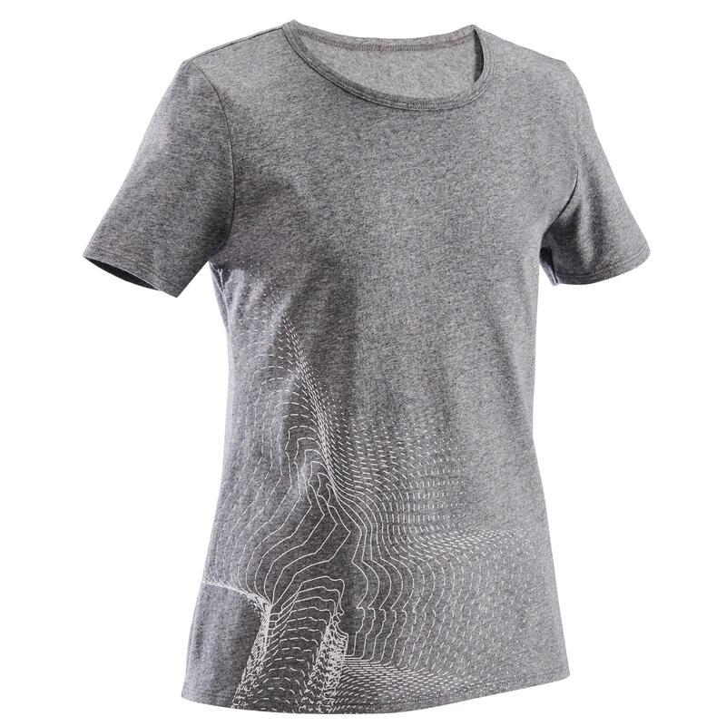 T-Shirt manches courtes 100 fille GYM ENFANT gris foncé imprimé