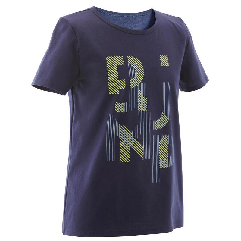T-Shirt basique bleu marine imprimé ENFANT