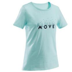 T-shirt básica estampada criança turquesa