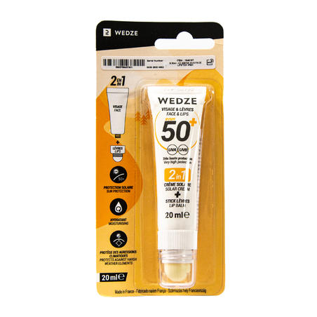 2-in-1 duo pack SPF50+ sun cream and sun protection lip balm