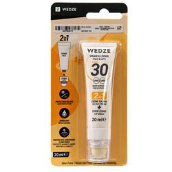 Protetor solar em creme e protetor em stick par lábios 2 em 1 IP 30