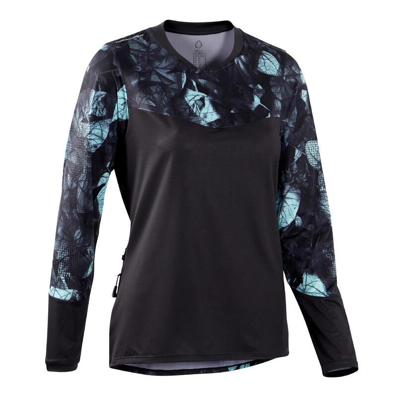 Women's Long-Sleeved Mountain Biking Jersey ST500 - Black/Green
