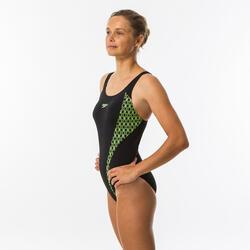 Sportbadpak voor zwemmen dames Muscleback zwart/fluogeel