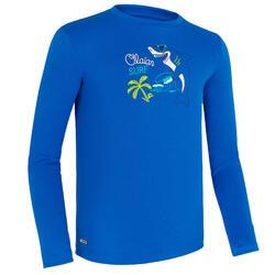 Wasser-T-Shirt UV-Schutz Surfen langärmlig Kinder blau bedruckt