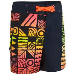 Boardshort voor surfen tweens 500 zwart/oranje