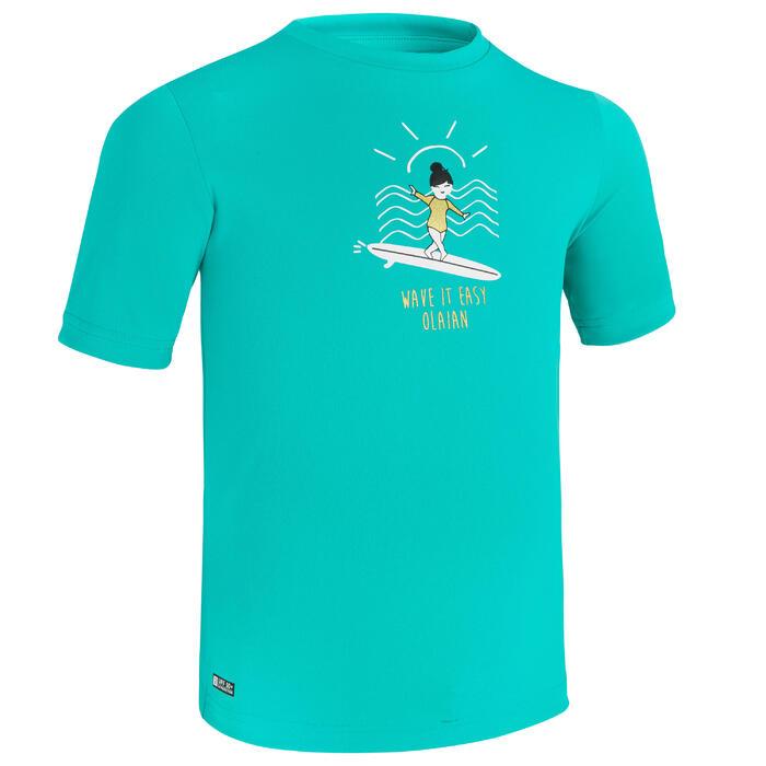 water tee shirt anti UV surf enfant vert turquoise imprimé