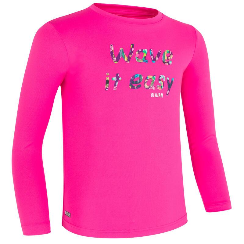Bluză Anti-UV Surf 100 Imprimeu Roz Copii
