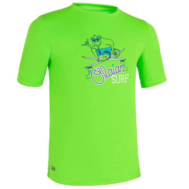 Uv-werende rashguard met korte mouwen voor surfen kinderen groen met print