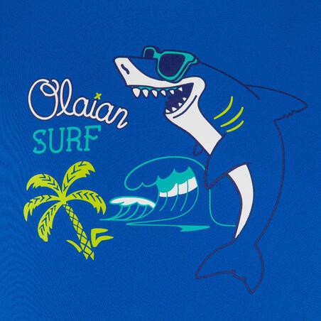 kids' surfing anti-UV long-sleeved printed water T-shirt - blue
