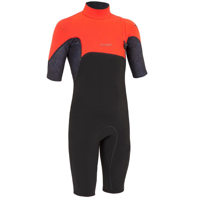 Costum Surf Shorty 900 Neopren 1,5mm Negru-Roșu Copii