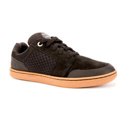 Kids' Low-Top Skateboard Shoes with Rubber Outsole Crush 500 - Black