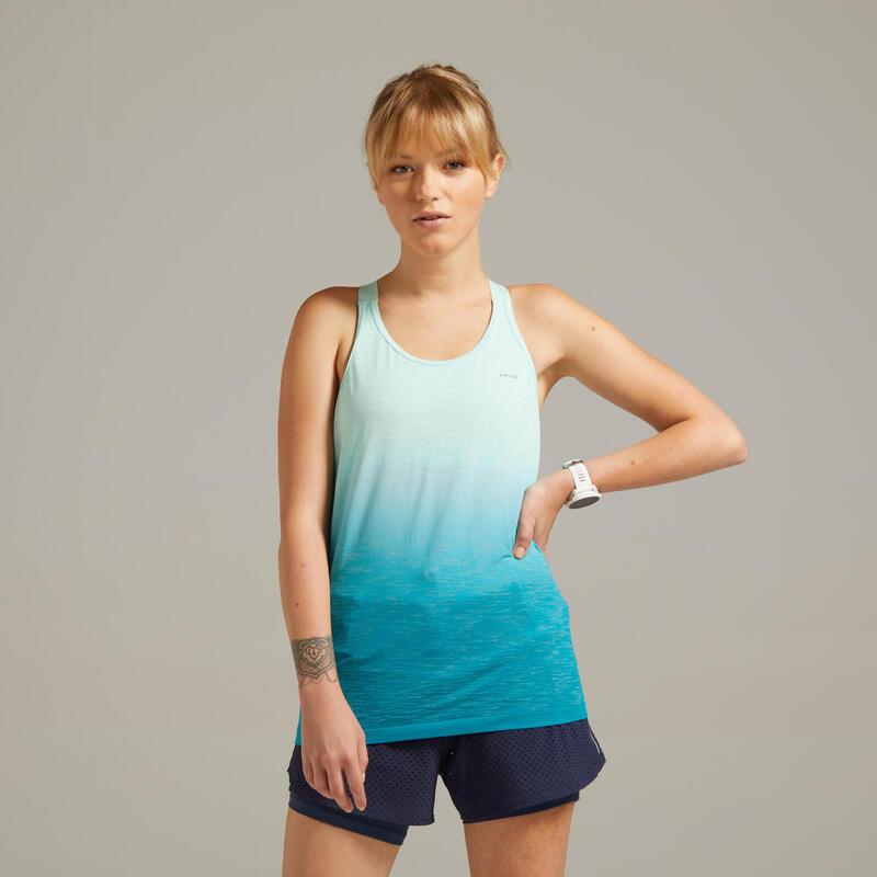Camiseta Sin Mangas Kiprun Care Mujer Verde Sujetador Integrado