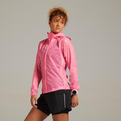Giacca impermeabile running donna KIPRUN LIGHT rosa