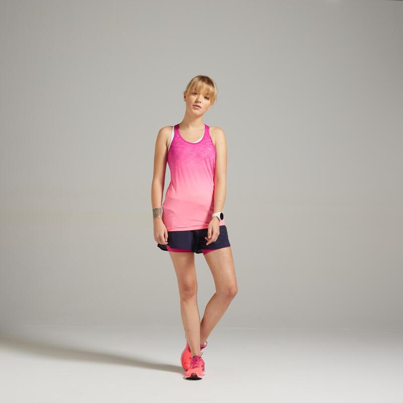 女款透氣跑步背心KIPRUN CARE - 粉色