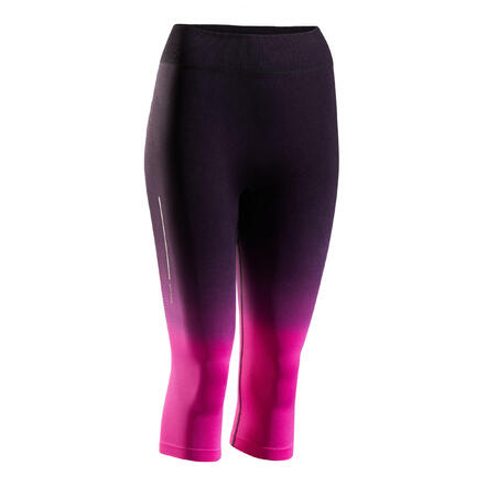 KIPRUN CARE BREATHABLE WOMEN'S CROPPED RUNNING BOTTOMS - BLACK/PINK