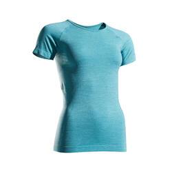 女款透氣跑步T恤KIPRUN SKINCARE - 黑色