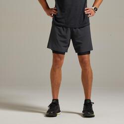 男款跑步2合1緊身短褲Kiprun - 灰色黑色