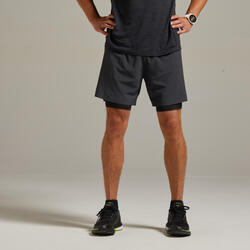 Kiprun Men's Running 2-in-1 Tight Shorts - grey black