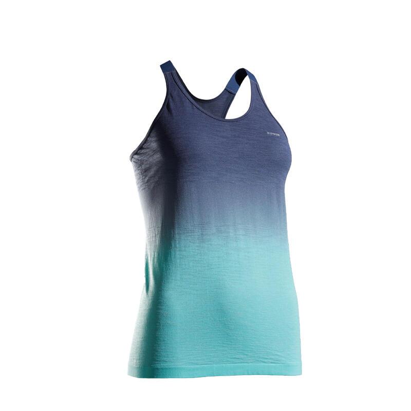 女款透氣跑步背心Kiprun Care - 藍色/綠色