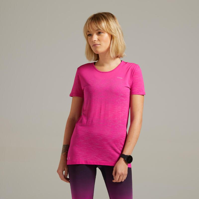 Ademend hardloopshirt voor dames Kiprun Care roze