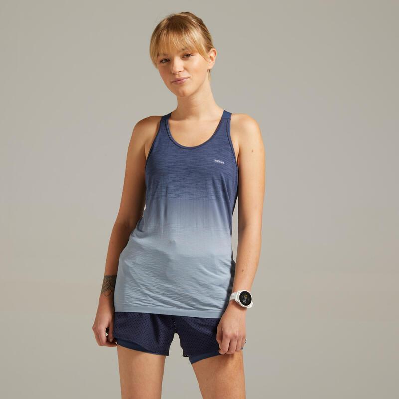 Canotta con top running donna KIPRUN CARE azzurro-grigio