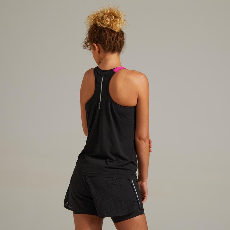 KIPRUN CARE WOMEN'S BREATHABLE RUNNING TANK TOP - BLACK/PINK