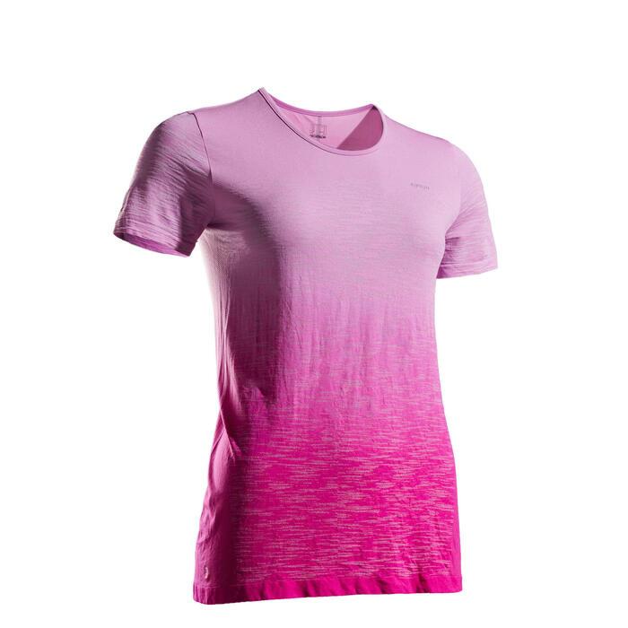 女款透氣跑步T恤Kiprun Care - 柔粉