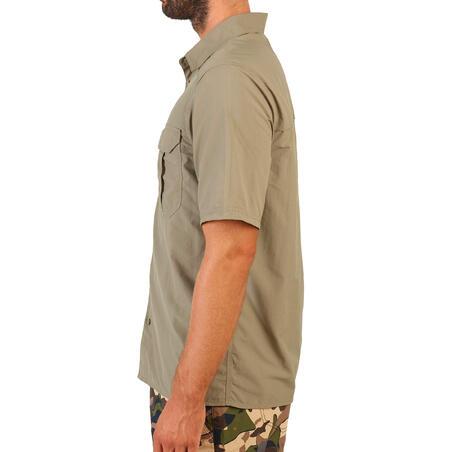 Kemeja berburu lengan pendek ringan dan mampu melepas uap SG100 - hijau muda