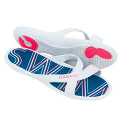 女款泳池拖鞋SLAP 500 PRINT - 藍白配色