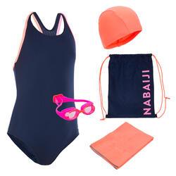 Schwimm-Set 100 Start Mädchen Badeanzug, Brille, Badekappe, Handtuch, Tasche