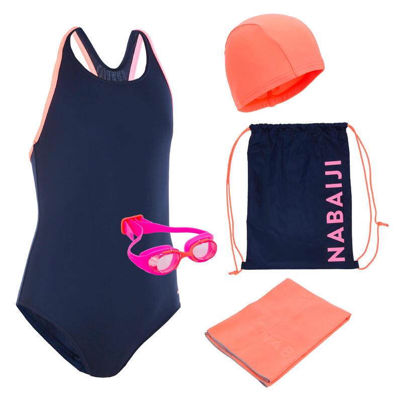 Conjunto natação menina 100 START: fato de banho, óculos, touca, toalha, saco