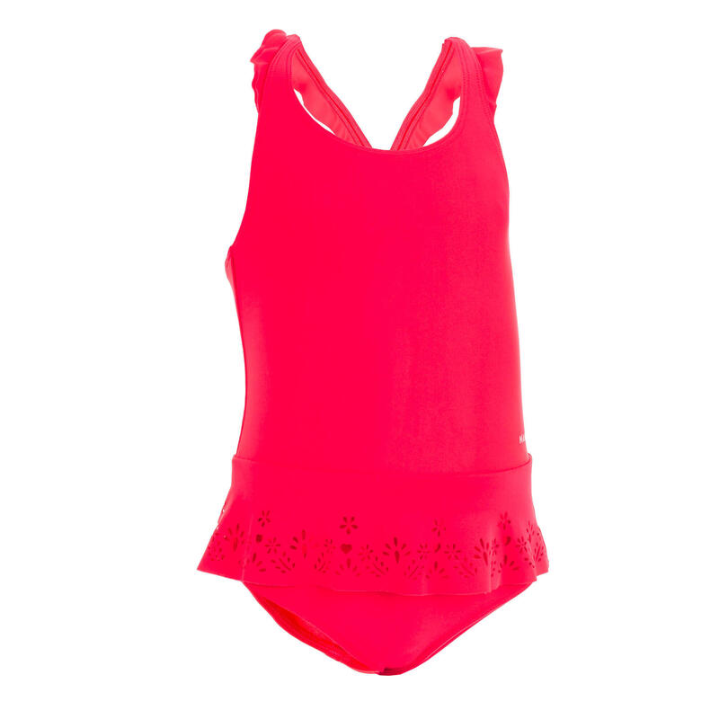Maillot de bain 1 pièce bébé fille jupette rouge