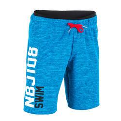 男孩款長版泳褲ALL CHIN 100-藍色