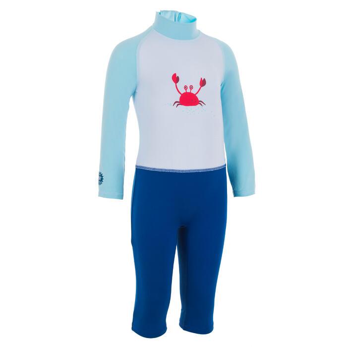 Combinaison de natation anti UV bébé / enfant manches longues bleu imprimé