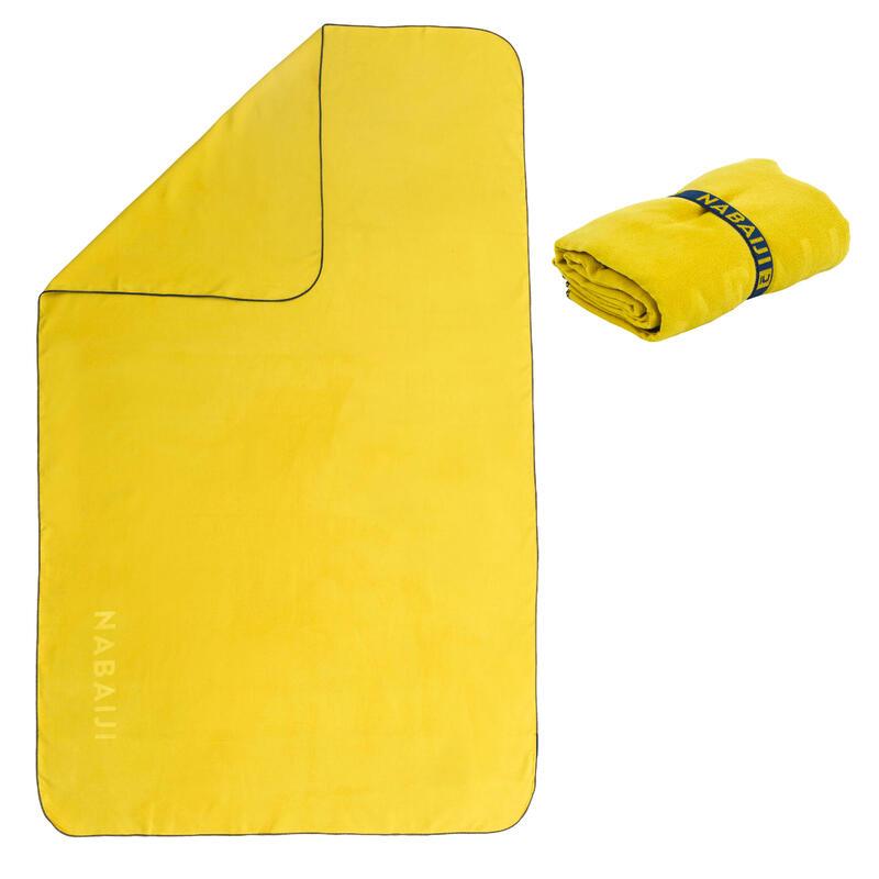 Mikropluošto rankšluostis plaukimui, L dydis, 80 x 130 cm, tamsiai geltonas