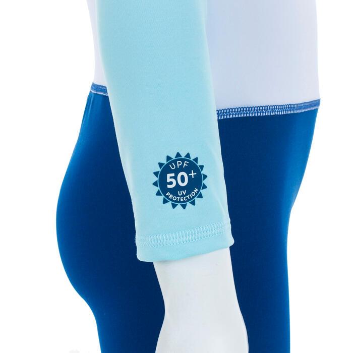 Fato de Natação Anti-UV Bebé Manga Comprida Azul Estampado